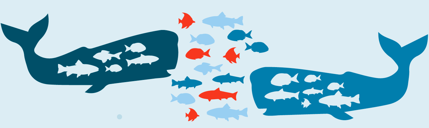 Illustration of whales eating fish to represent marketing automation consolidation
