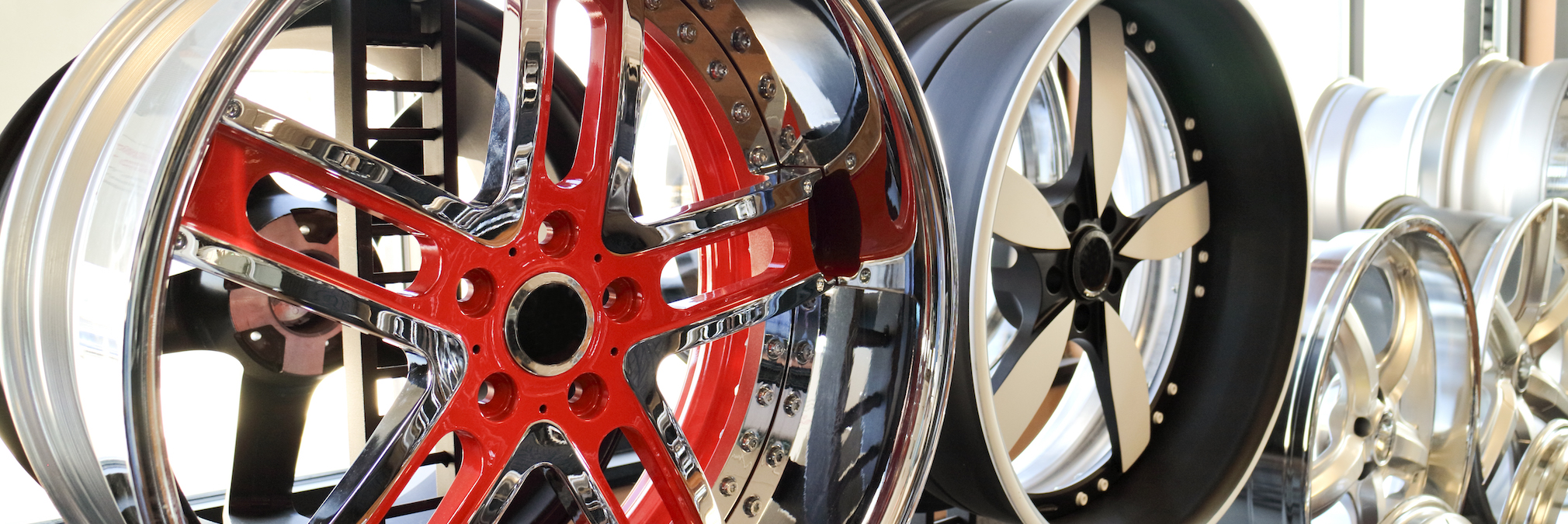 Custom alloy rims in showroom. Bling, for your ride