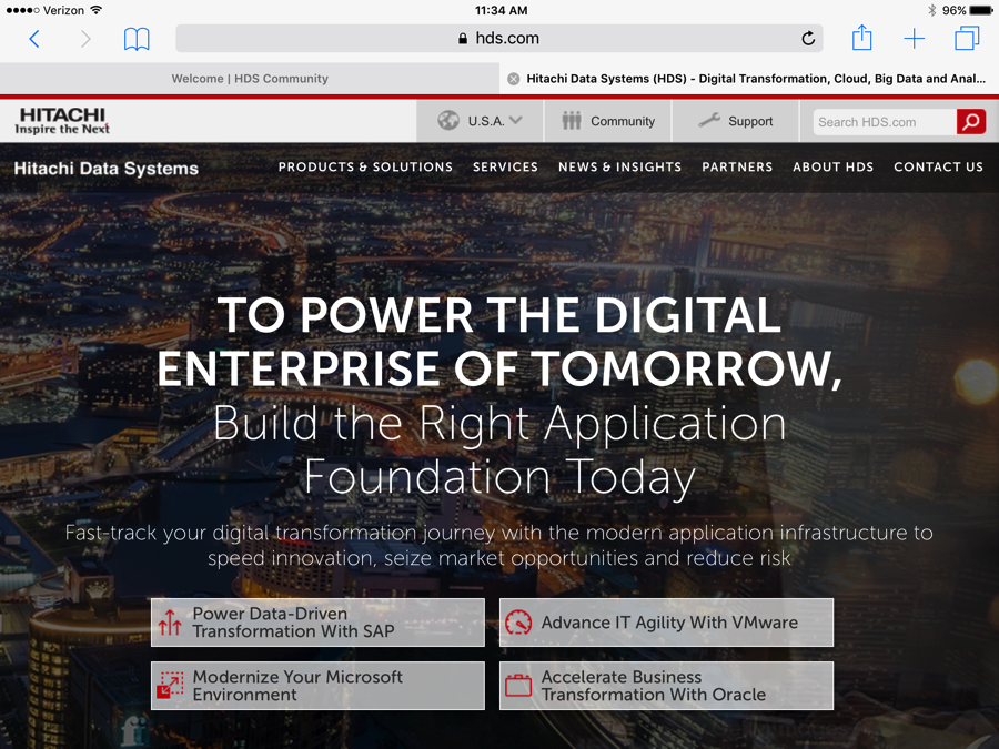 "Hitachi website homepage with headline ""To Power the Digital Enterprise of Tomorrow"""