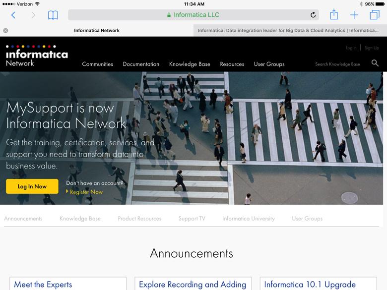"""Informatica website screenshot with headline """"MySupport is now Informative Network"""""""