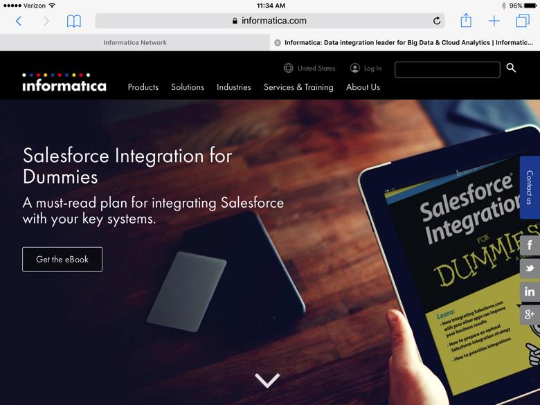 "Informatica website with headline ""Salesforce Integration for Dummies"""
