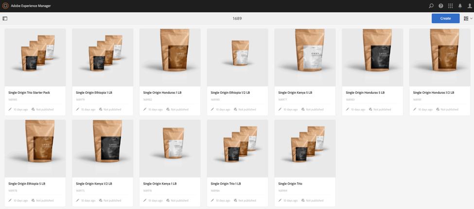 Synced Adobe Product Catalog