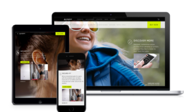 JayBird website displayed on tablet, website, and iphone