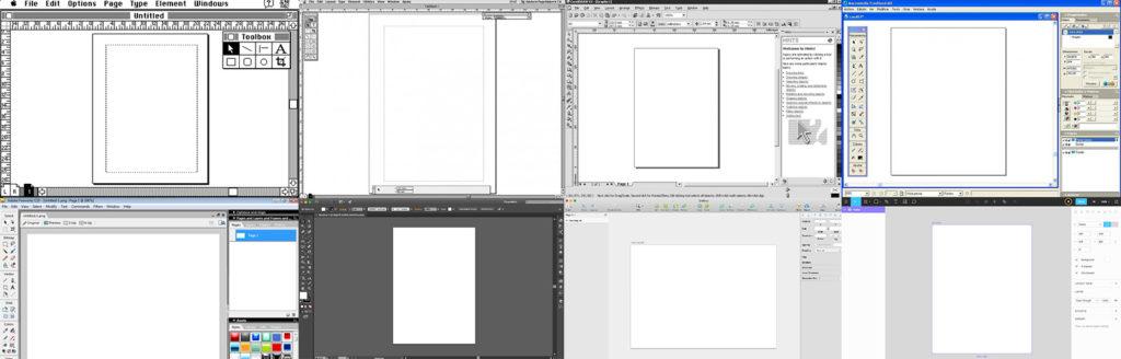 Various screenshots of design, code, and animation softwares