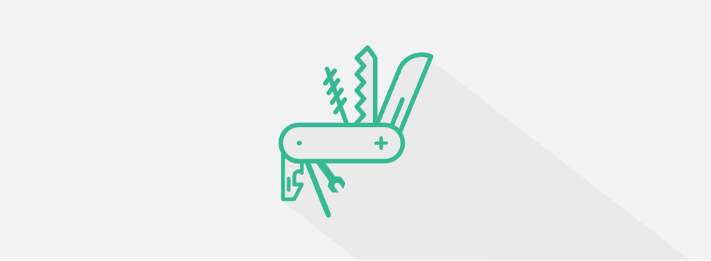 Illustration of a pocket knife multi-tool to represent overengineering personalization marketing