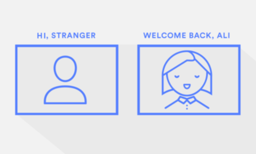 """Line graphic showing a human with no personalized features with the headline """"Hi Stranger"""" alongside a personalized human graphic with the headline """"Welcome Back, Ali"""""""