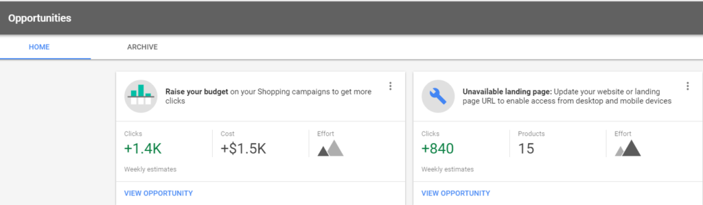 Opportunities tab in Google Merchant Center
