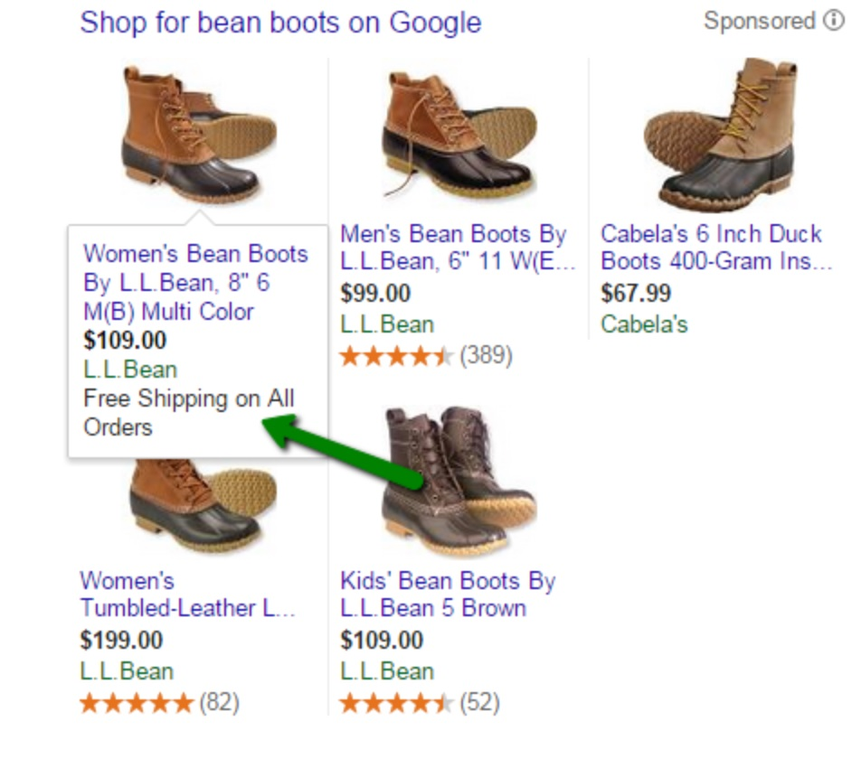 Example of free shipping in AdWords shopping results