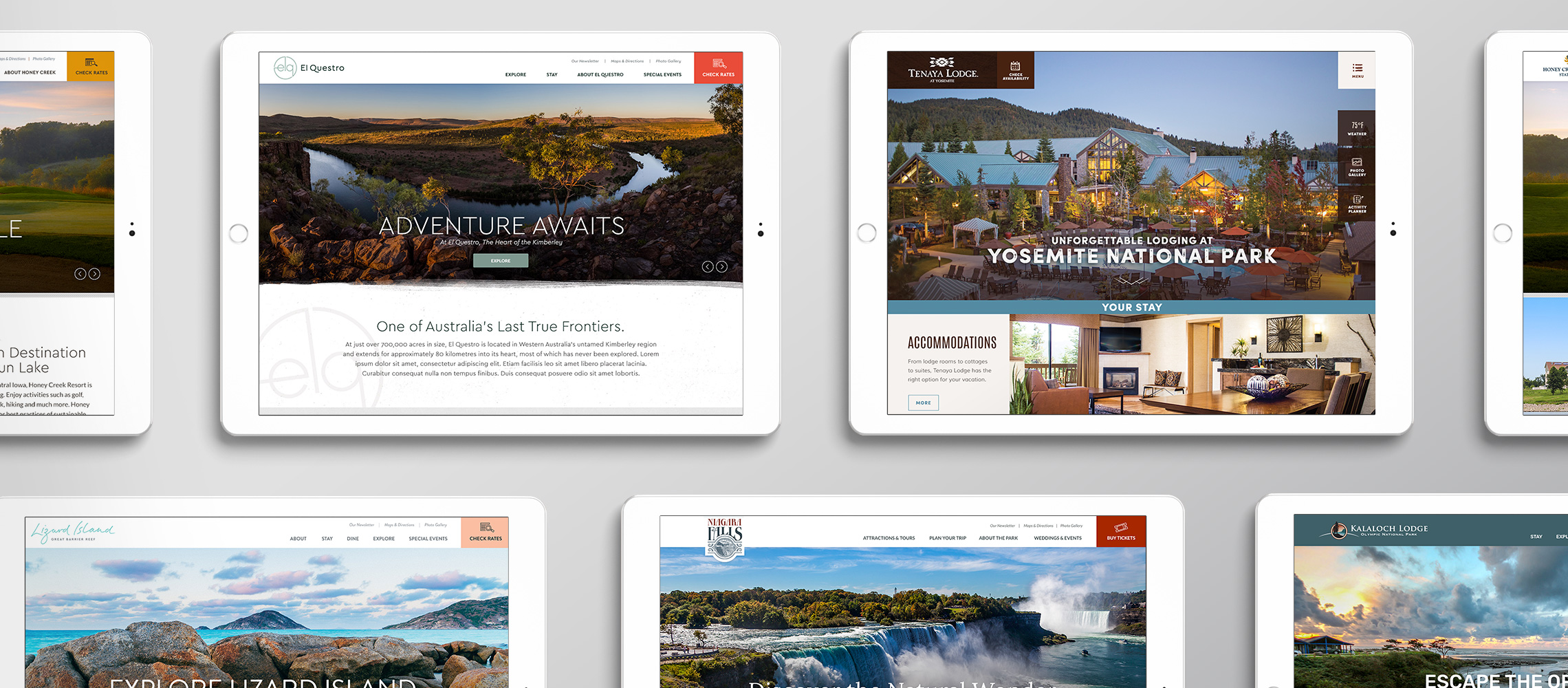 different Yosemite pages on tablet displays