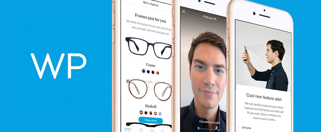 Warby Parker Mobile App facial mapping interface