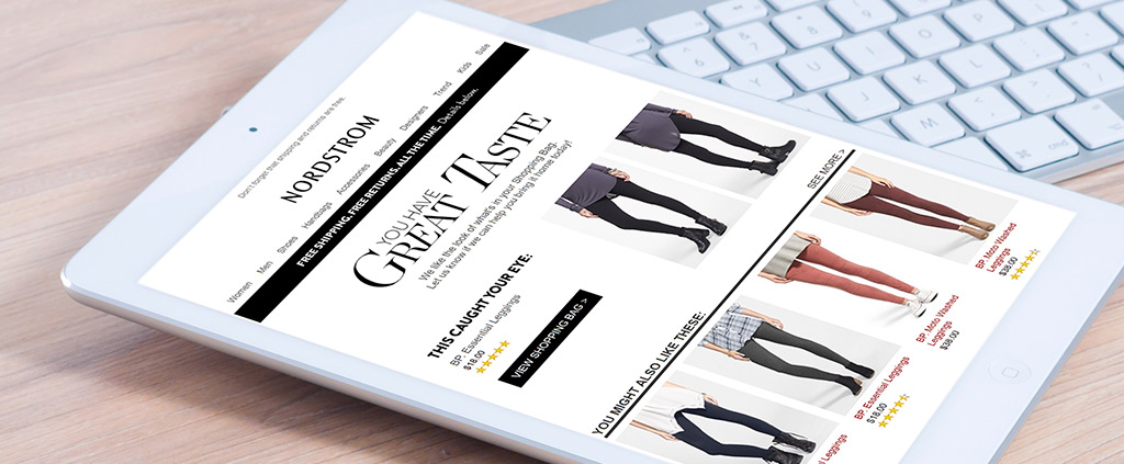 """Nordstrom's """"This Caught Your Eye"""" personalization marketing email interface"""