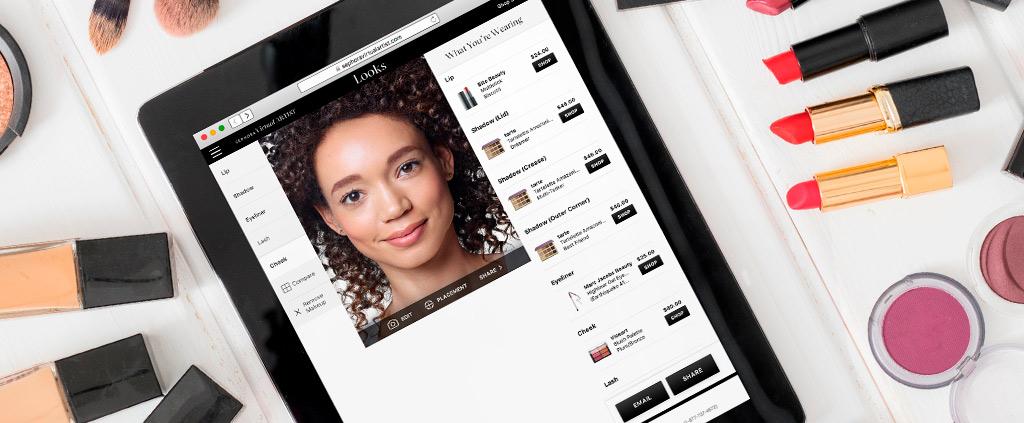 Sephora Virtual Artist app interface on iPad
