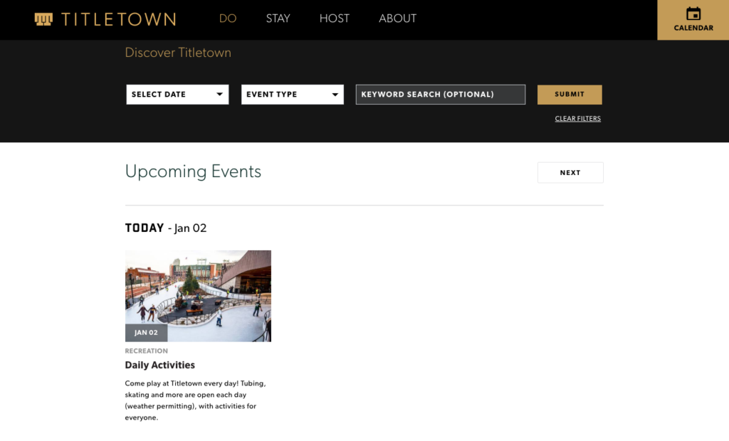 Titletown Upcoming Events page