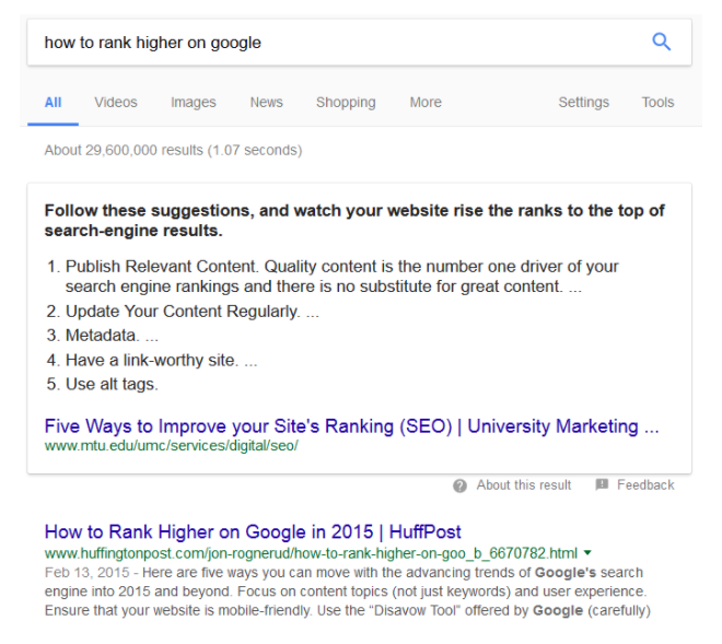 Screenshot of tips to rank higher on google