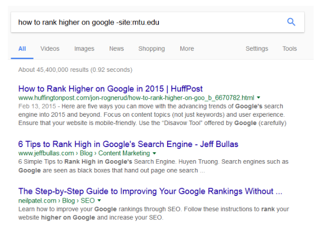 Screenshot of three site google searches on how to rank higher