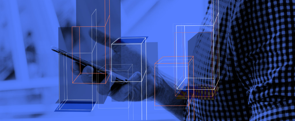 Smartphone user with boxes overlaid