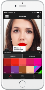 Sephora Virtual Artist iPhone app interface