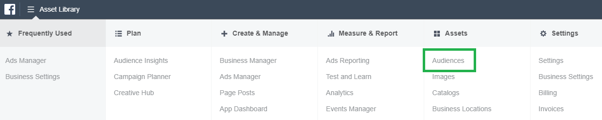 Facebook Audiences Navigation in Ads Manager