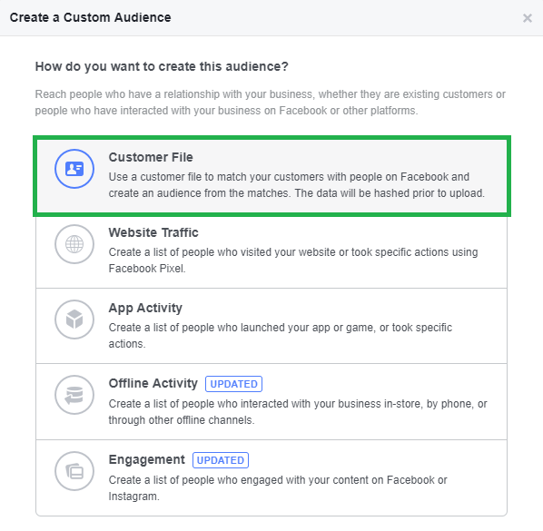 Customer File Facebook Audience