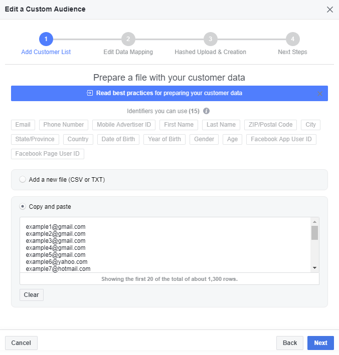 Facebook Ads Customer Data Upload