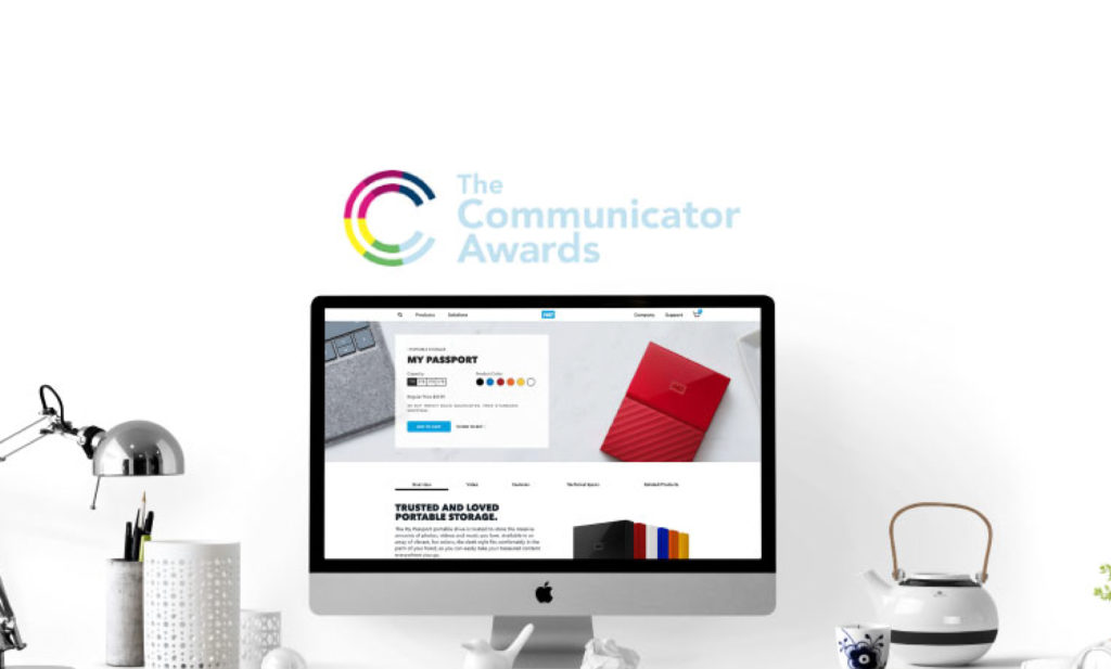 Western Digital and Communicator Awards logos displayed on mac desktop computer