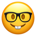 Nerd smiley face emoji with glasses and two buck teeth