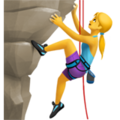 Emoji of a woman climbing a mountain face