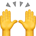 Emoji of two hands raised in celebration