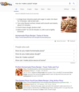 Google search for How do I make a pizza? recipe