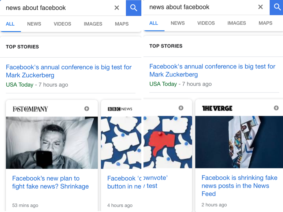 "Google search for ""news about facebook"" on mobile"