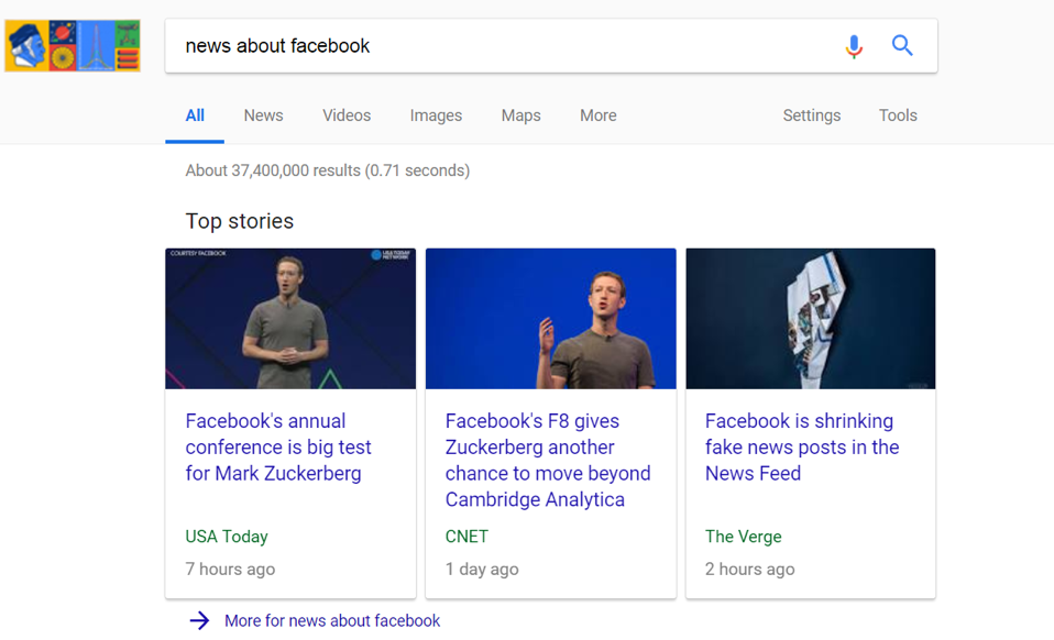 "Google search for ""news about facebook"" on desktop"