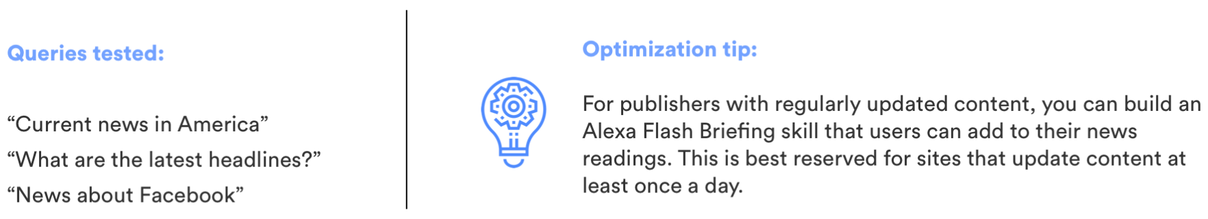 Voice search optimization tip: publishers with regularly updated content can build an Alexa Flash Briefing skill that users can add to their news readings This is best reserved for sites that update content at least once a day.