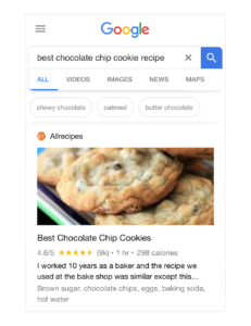 Google search for best chocolate chip cookie recipe