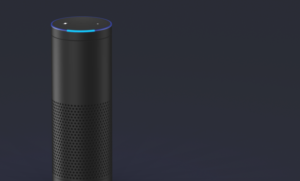 Closeup of Alexa Amazon Echo voice assistant