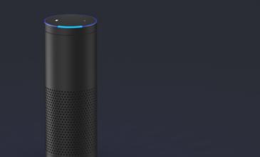 Closeup of Alexa Amazon Echo voice assistant