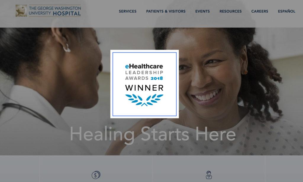 eHealthcare Leadership Award Winner logo overlaid on George Washington Hospital website interface