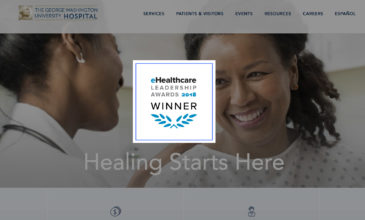 eHealthcare Leadership Award Winner logo overlaid on George Washington Hospital website interface