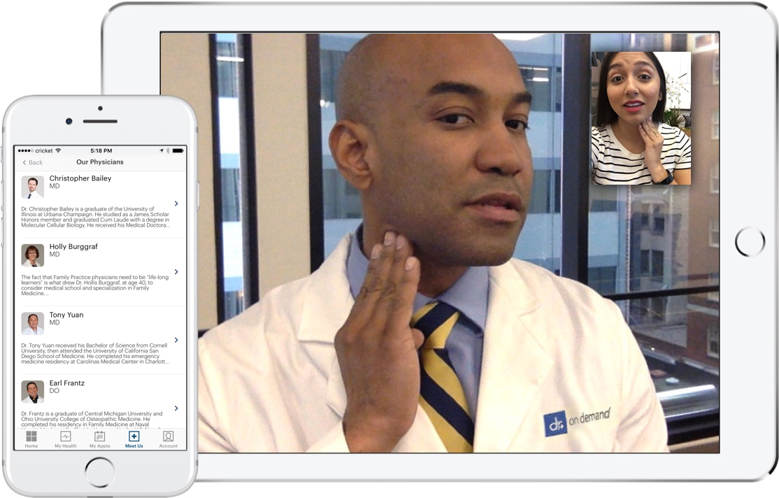 Doctor on Demand interface showing virtual patient experience via consultation video call