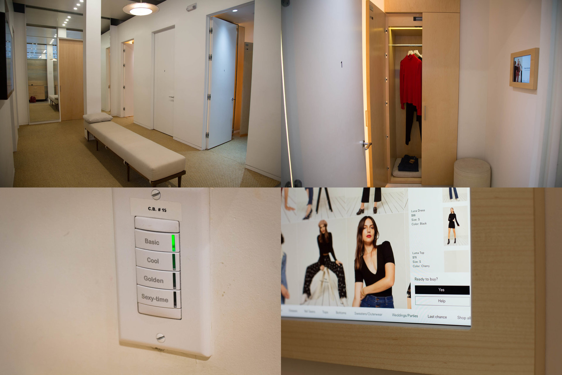 The interior and exterior of Reformation store dressing rooms, including lighting choices and purchasing interface