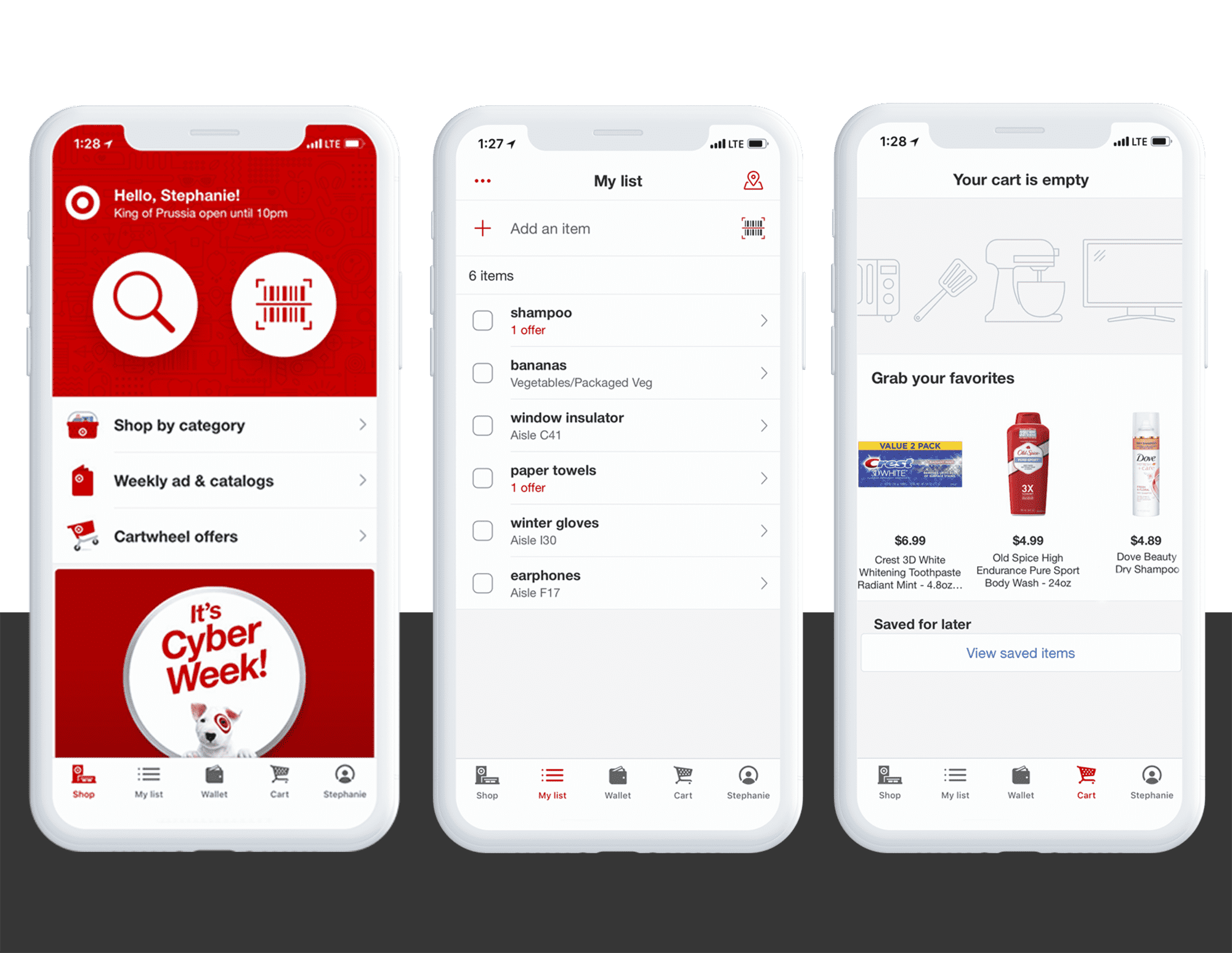 iPhone app interface for Target omnichannel customer experience