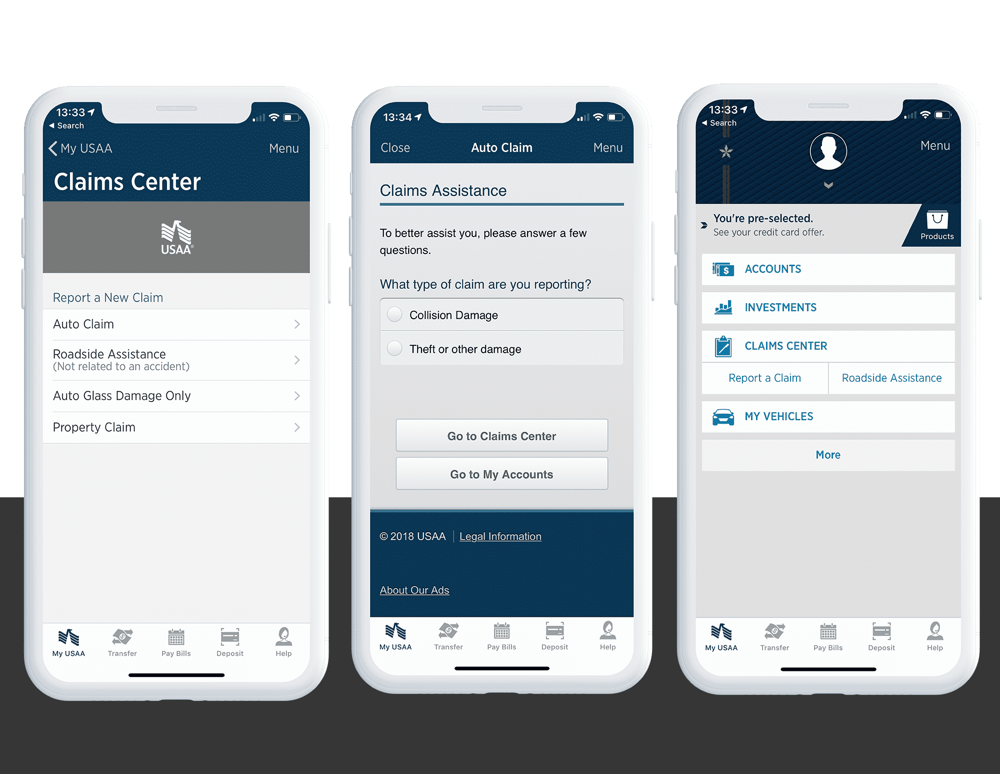 iPhone app interface for USAA accident report customer flow