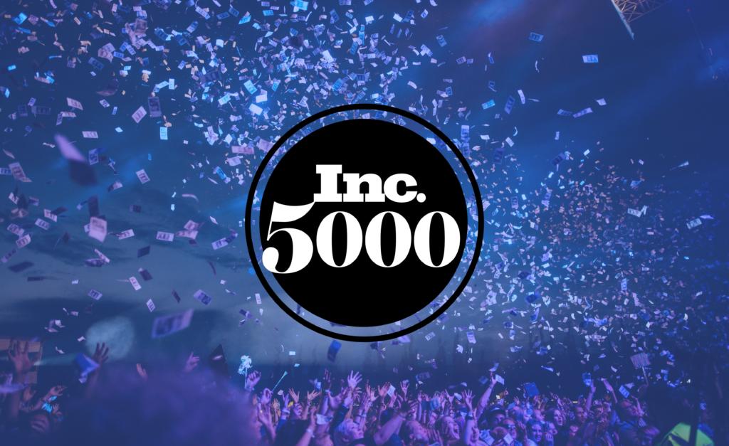 People celebrating with Inc 5000 logo to celebrate Hero Digital's ranking