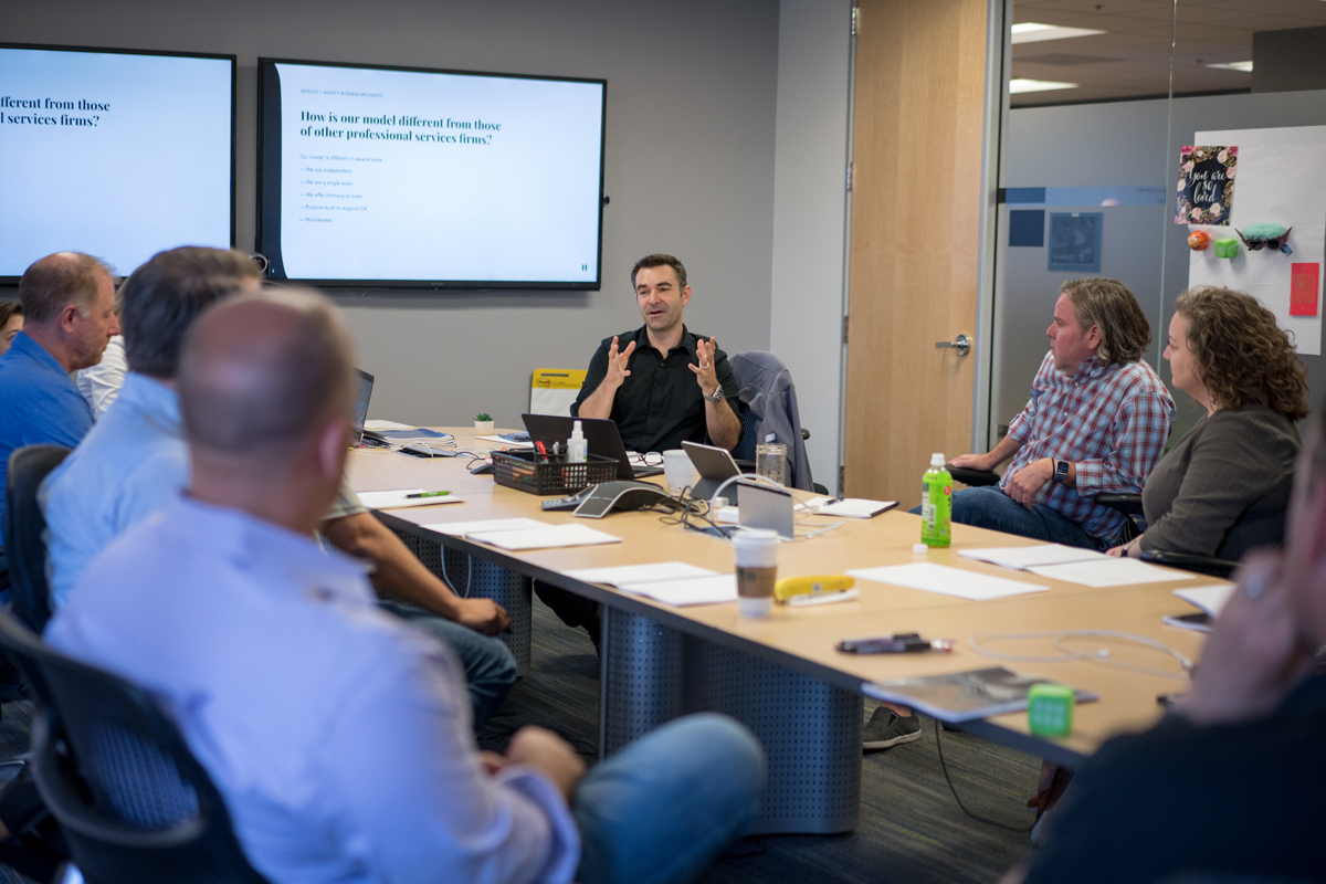 Executive meeting to discuss buyer's journey and value propositions